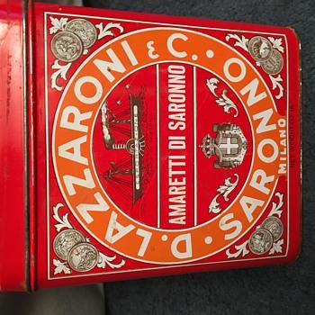 Vintage D. Lazzaroni & C. Saronno Milano Tin Can - Advertising