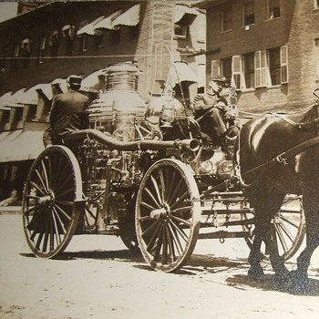 RPPC of Fire Pumper in a parade