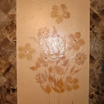 Nice flower painting made with real dried leaves and petals - Fine Art