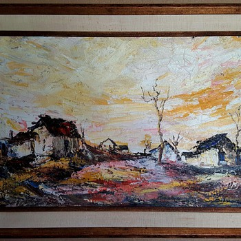 Bertalan Bodnar Original Oil Painting - Mid-Century Modern