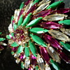 VERY RARE SHERMAN PINWHEEL BROOCH IN COLOURS of  FUCHSIA, CLEAR & OPAQUE JADE GREEN