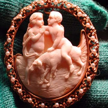 Unique cameo of 2 boys with dog and pearls
