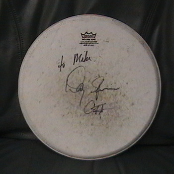 Autographed Drum Head Used by Danny Seriphine of Chicago - Music Memorabilia