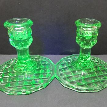 Uranium Glass Candlesticks - Glassware