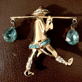Irice trinket box and Coro water carrier - Costume Jewelry