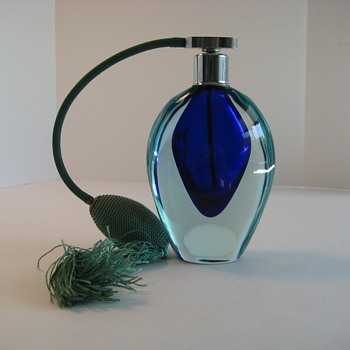 Seguso Cobalt blue and aqua Sommerso perfume bottle - Art Glass