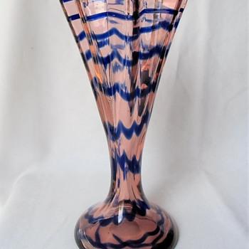 Art Deco Era Kralik Glass Decors - Pink & Blue Waves - Art Glass