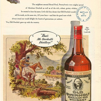 1947 Old Overholt Whiskey Magazine Advertisement Vintage National Distillers Broadford Pennsylvania Ephemera - Advertising