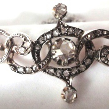 Antique Silver over Gold Tiara changed into necklace set with rose cut diamonds - Fine Jewelry
