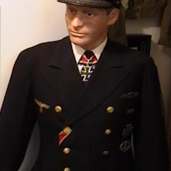 WW II German Kriegsmarine Korvettenkapitan Blue Reefer Jacket and Cap - Military and Wartime