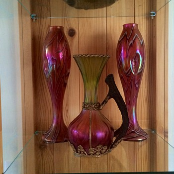 Harrach Iridescent Pair & Kralik Honeycomb Mounted Stag Handle Vases - Art Glass