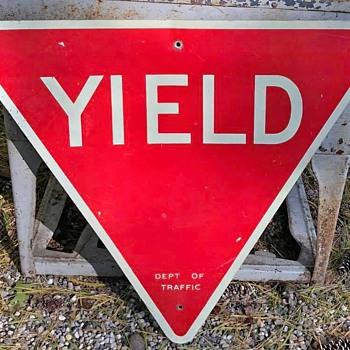"1960s New York City ""YIELD"" sign - Signs"