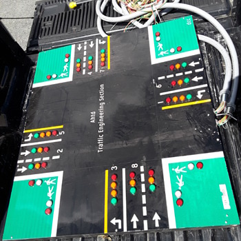 large custom made illuminated display panel, to simulate traffic signals at a 'typical intersection' - Electronics
