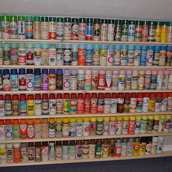 New shelves for my spray paint can collection - Advertising