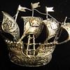 Very Fine Vermeil Handmade Filegree Sailing Ship brooch