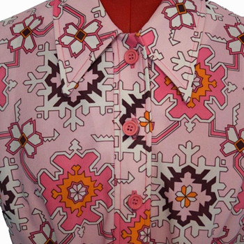 British Psychedelic 60s Snowflake Crimplene Dress by St Michael  - Womens Clothing