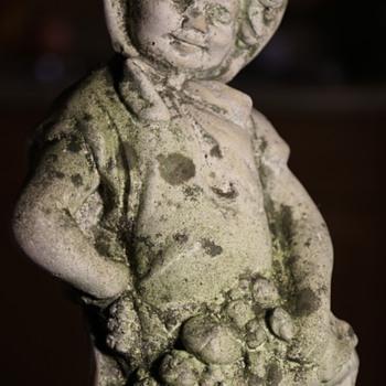 Antique Cast Stone Mushroom Gatherer Garden Statue - Fine Art