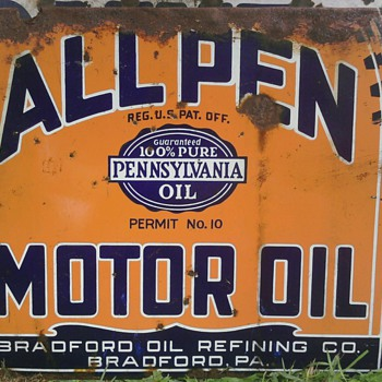 RARE ALL PEN Motor Oil Double Sided Porcelain Sign One of a Kind? Permit 10! - Advertising