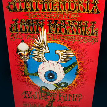 #7 ~ Original 1968 Jimi Hendrix Flying Eyeball Fillmore West Poster