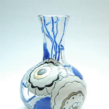 french art deco enameled vase by delvaux - Art Deco