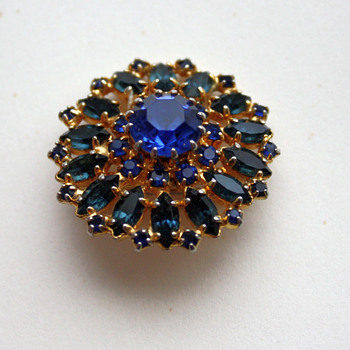 Blue sunburst brooch - Costume Jewelry