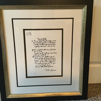LENNON LYRICS...handwritten - Music Memorabilia