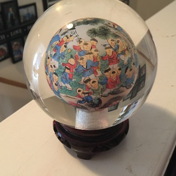 Chinese reverse painted glass paperweight globe - Asian