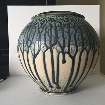 Modern drip glaze art pottery - trees - cant read signature - Pottery