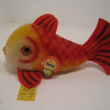 A Swimmingly Beautiful Red, Yellow, and Orange Mohair Steiff Fish