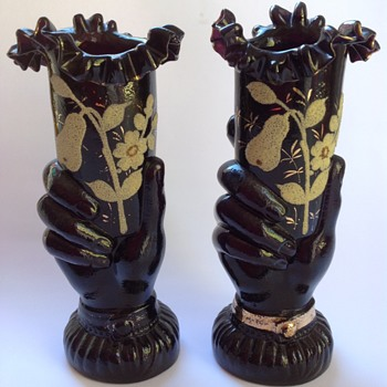 Pair of Victorian black glass hand vases with coralene decoration - Art Glass