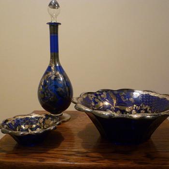 Blue glass dessert set - Glassware