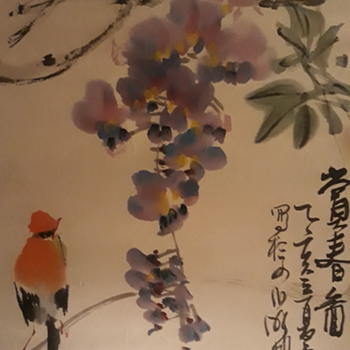 Purple flower and the little bird  - Asian