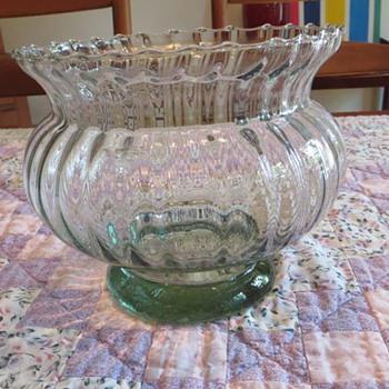 Green Glass Bowl- Vase  - Glassware