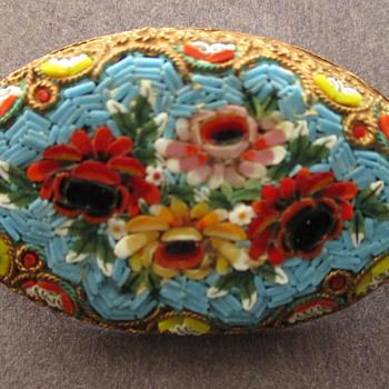Old Italian Micro Mosaic Brooch - Fine Jewelry
