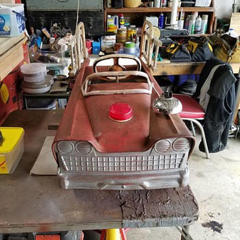 Murray Flat Face Fire Engine Pedal Car ( Early 60s) All Original Paint / Mostly All Original Parts - Love Patina !!! - Model Cars
