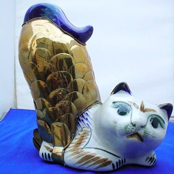 Porcelain Cat Fish with brass fish scales - Asian