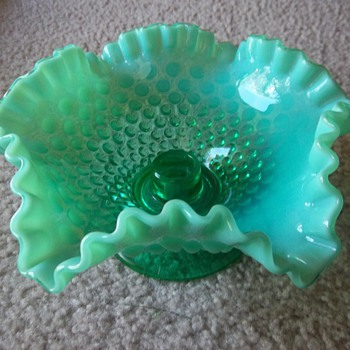 Fenton hobnail Emerald Green Opalescent Candle bowl - Glassware