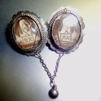 Double Silver Mourning Brooch - Fine Jewelry