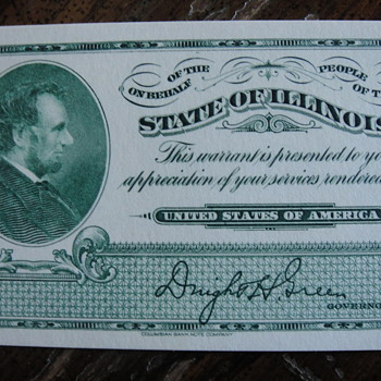 WW2 State of Illinois Warrant from Columbian Bank Note Company - US Paper Money
