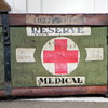 """WWII """"R.F.M.P.  Reserve Medical"""" pannier--wicker with canvas"""