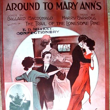 "1913""-LETS ALL GO-ROUND TO MARY-ANN'S""   (She Has A PLAYER PIANO. ALL THE RAGE, (1913) SHEET MUSIC - Music Memorabilia"