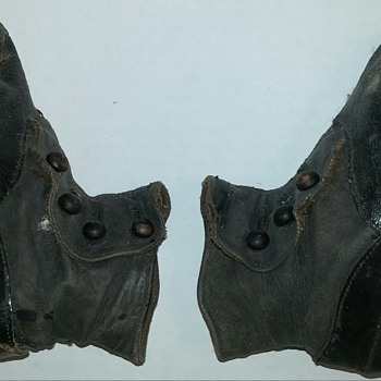 Old Button Up Baby Toddler Shoes, Black Leather 1920s