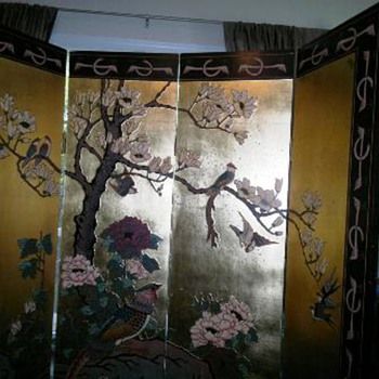 Large Oriental  Wood Carved  Panel  - Asian