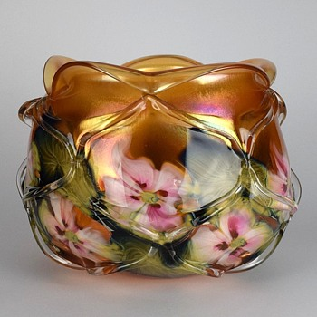 CHARLES LOTTON GOLDEN SUNSET MULTI FLORA CAGED BOWL - Art Glass