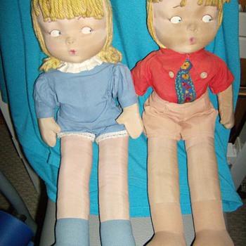 Vintage Cloth Boy and Girl Dolls  - Dolls