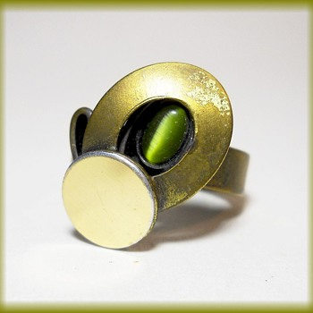 Original Modern Stylized Ring - Marked POLY - Costume Jewelry