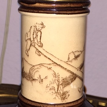 Adorable & Rare Antique Oil Lamp Boys Playing on Seesaw - Lamps