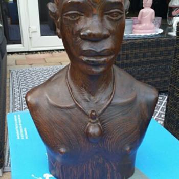 Massengo Wooden Buste / Sculpture  (Congo) (Signed) - Fine Art
