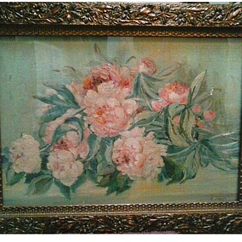 "Antique Gesso Frame / Flower and Leaf Design 21"" x 28""/ Labeled A. Jos. Nurre / Circa 19th Century - Fine Art"