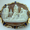 Rare scenic cameo in enameled gold frame